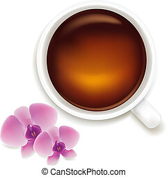 Cup Of Tea Vector Illustration With Orchids
