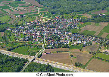 Unzhurst Baden, aerial - aerial view of a small community in...