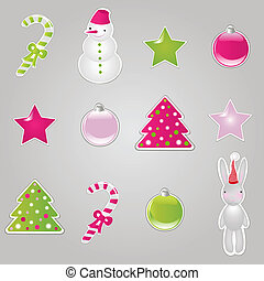 Christmas Symbols And Elements, Stickers Set, Vector...