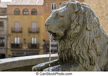 Bronze fountain with lion shape, City of Segovia, famous for...