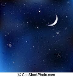 noche, cielo, con, luna, y, estrellas