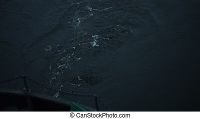 Trace of ship on the water, view from stern - Trace of the...