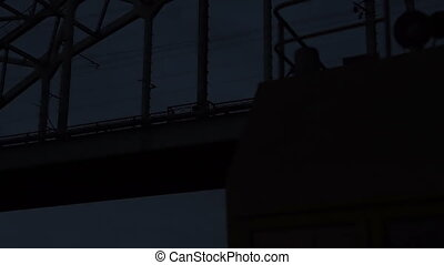 Dark night river bridges a bottom view - mystic, detective...