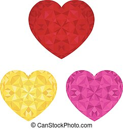 Vector St Valentines Day Crystal Pink Red and Golden Hearts...