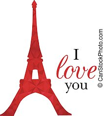 Vector Ruby Red Eifel Tower Paris On St Valentines Day Of...