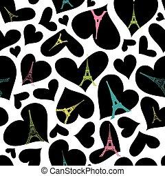 Vector Eifel Tower Paris Seamless Repeat Pattern Bursting...