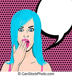 Surprised young sexy blue hair girl pop art