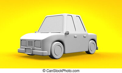 Car On Yellow Background. Loop able 3DCG render Animation.