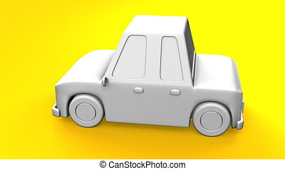 Car On Yellow Background.