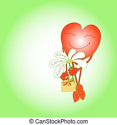 red heart smiles and gives a flower