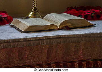 Bible set out on altar