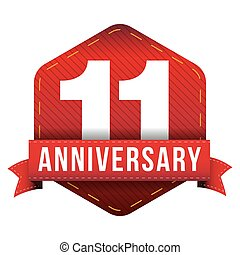 Eleven year anniversary badge with red ribbon