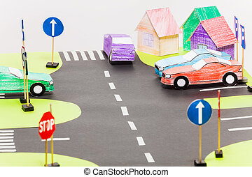 Playing set with road sings, crossings and cars - Playing...