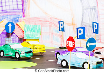 Road traffic in the toy town with handmade cars - Road...