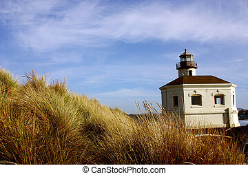 Coquille River Lighthouse in the region of Oregon in United...