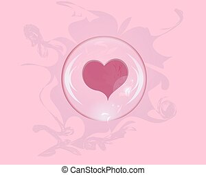 heart soap bubble with reflections on a colored background