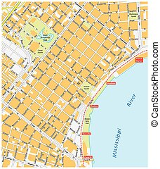 new orleans, french quarter road map