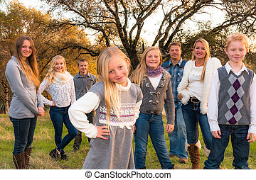 Happy Large Family together outdoors - Beautiful Happy Large...