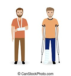 Disability people concept. Two smiling invalid men isolated on a white background.