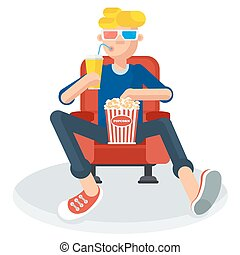 teen in cinema - Young teen spectator in a movie theater...