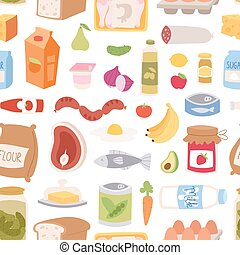 Everyday food seamless pattern vector. - Everyday food...