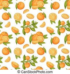 Orange fruit seamless pattern vector. - Orange fruit...