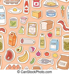 Everyday food seamless pettern vector. - Everyday food...