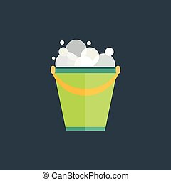 Water bucket illustration. - Green bucket of water. Vector...