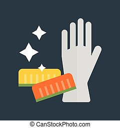 Rubber gloves and cellulose sponges flat icon vector...