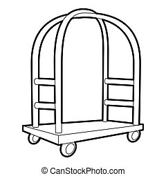 Cart in hotel icon, outline style