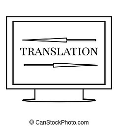 Translation on monitor icon, outline style
