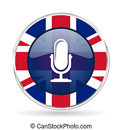 microphone british design icon - round silver metallic...