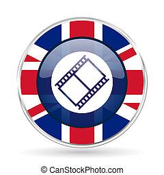 film british design icon - round silver metallic border...
