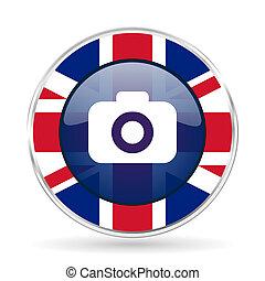 photo camera british design icon - round silver metallic...