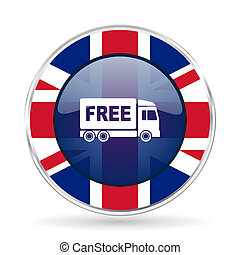 free delivery british design icon - round silver metallic...