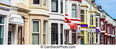 Traditional English terraced house (HDR) - A row of...