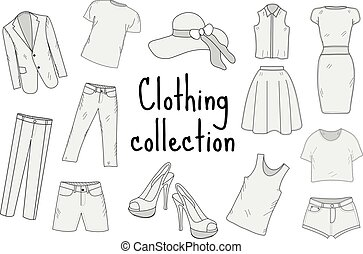 Clothing set hand drawing, sketch, doodle style. Apparel collection. Vector illustration.