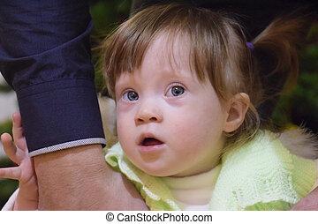 Tatuś, szary, oczy, tło, dziecko, włosy, dziewczyna, Mimika,...