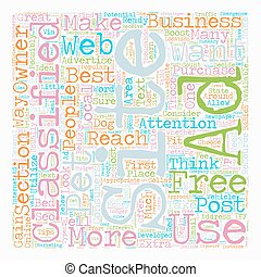 It s Classified How To Utilize Free Classified Ad Sites To Boost Business text background wordcloud concept