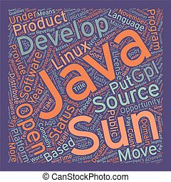 Java Goes Open Source text background wordcloud concept