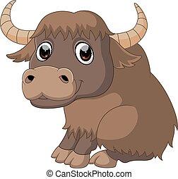Cute yak cartoon - illustration of Cute yak cartoon