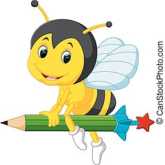 bee holding pencil