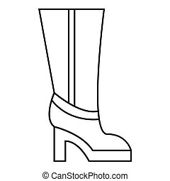 Women boots high heel icon, outline style