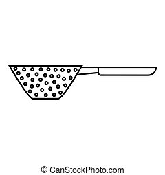 Colander with handle icon, outline style - Colander with...