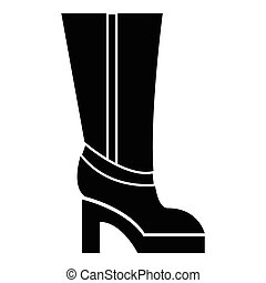 Women boots high heel icon, simple style