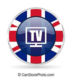 Tv british design icon - round silver metallic border button...