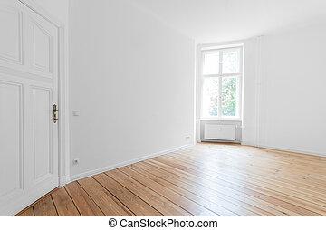 Empty room with parquet floor - Empty apartment room with...