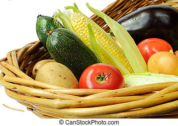 fresh vegetables - Fresh vegetables in a basket isolated on...