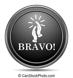 Bravo icon, black website button on white background.