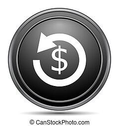 Refund icon. - Refund icon, black website button on white...